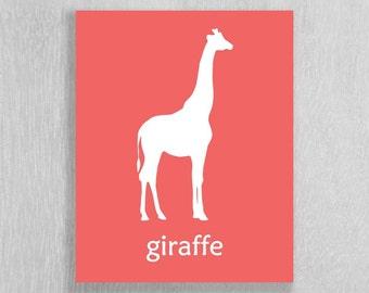 Safari Nursery Art Print, Giraffe, Modern art for Nursery and Childrens Room - Safari Wall Art - Safari Decor - Modern Giraffe