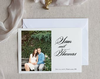 Custom Calligraphy and Horizontal Photo Save the Date - Formal Script