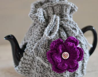Medium 4 - 6 Cup Size Hand Knitted Grey Tea Cozy with  Flower