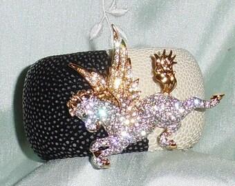 "Exotic Stingray Black & White Polished Exotic Leather, Swarovski Crystal Pegasus Brooch, LARGE 1 5/8"" Cuff Bracelet"