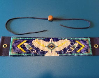 Hawk Totem, Native American Inspired, Purple, Yellow, and Blue, Loom Beaded, Handwoven, Bracelet with Leather Back and leather tie
