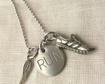 Run like a girl, RUN, running necklace, runner girl, marathon jewelry, gift for jogger, running jewelry, fitness jewelry, running