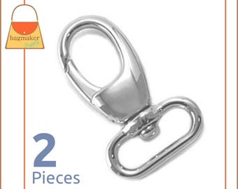 3/4 Inch Swivel Snap Hooks, .75 Inch, Nickel Finish, Lobster Claw, 2 Pieces, Handbag Purse Bag Making Hardware Supplies, SNP-AA019