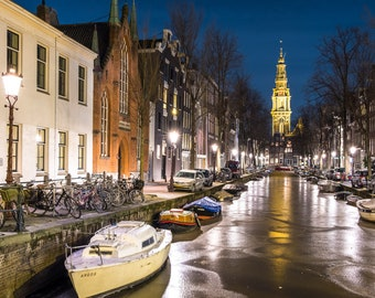 Amsterdam wintertime, Fool moon blue light photo print, Frozen canal historical houses, Amsterdam by night,  Wall decor art print