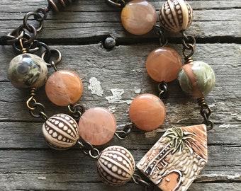 Beaded Bracelet, Assemblage Bracelet, Summer Bracelet, Beach Bracelet