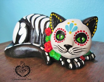Day of the Dead CAT Skeleton Kitty Altar Statue Pet Memorial - CUSTOM by Illustrated Ink - CHOOSE Your Own Colors