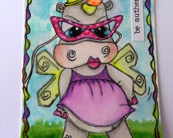2289 Unicorn Fairy Hippo Digi Stamp