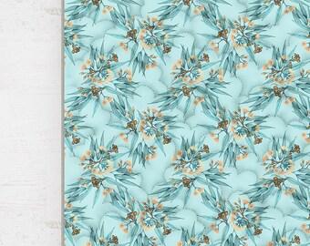 Kids Quilt Australian Eucalyptus Wholecloth Cotton Sateen. Duck Egg Blue and Peach Flowering Gum Blossoms || STYLE 1 || Ships 6 wks