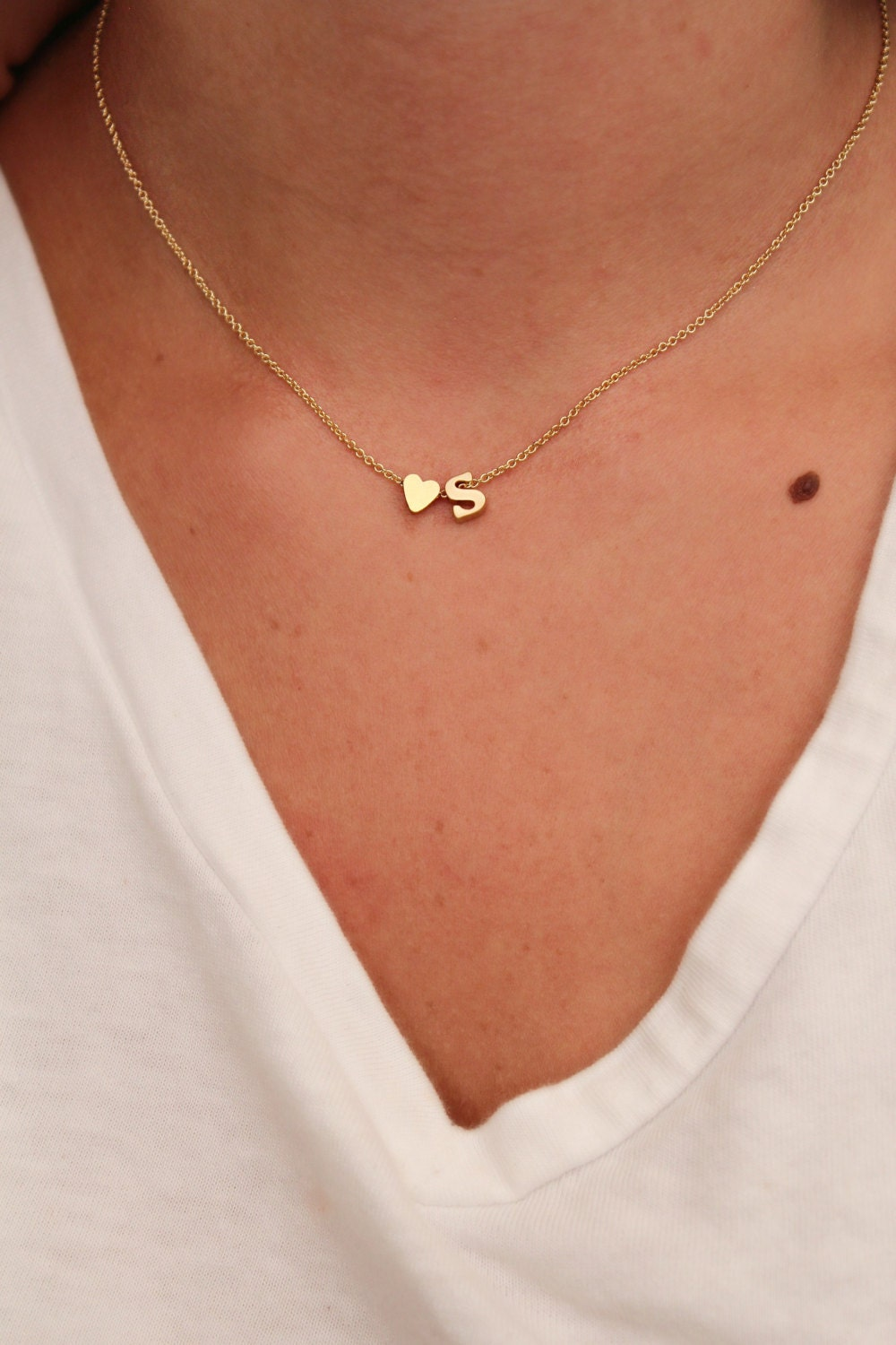 Dainty lowercase initial necklace initial and heart necklace zoom aloadofball Choice Image