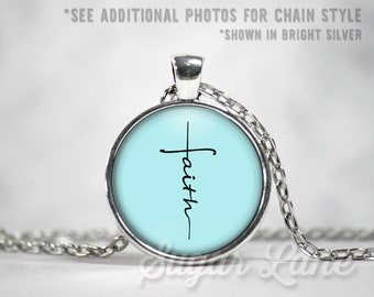 Faith Cross Necklace - Faith Necklace - Glass Dome Necklace - Inspirational Pendant - Inspiring Jewelry
