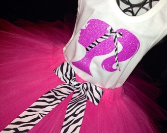 Barbie Birthday Tutu Set Zebra Pink and White Sparkle Glitter Great for Birthdays, Photo Props, Parties and Special Events