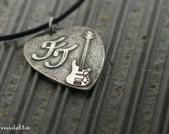 Personalized guitar pick necklace, Men's guitar pick jewelry.