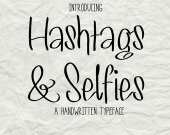HANDWRITTEN FONT Download- Digital Font for Commercial Use- MRF Hashtags & Selfies- Open Type Font, True Type Font