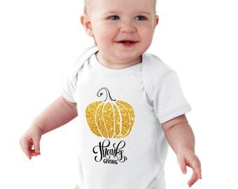 Thanks Giving Gold Pumpkin baby bodysuit or girl Shirt