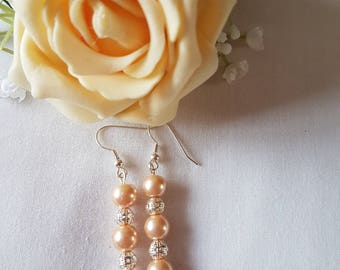 Pretty Peach and Silver Beaded Earrings