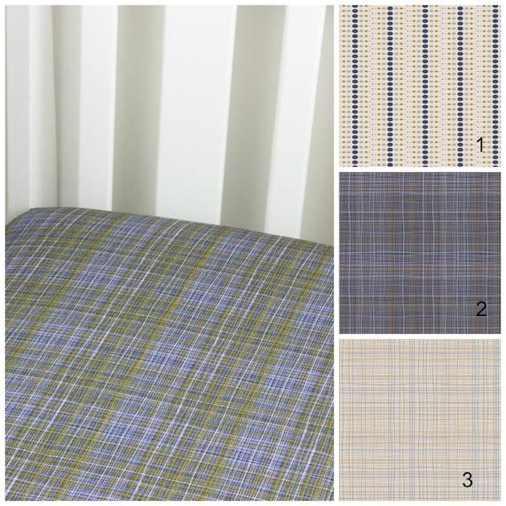 Navy Plaid Cotton Crib Sheet or Changing Pad Cover Baby Crib Navy Yellow White Crib Sheet Contoured Crib Sheet Changing Pad Cover Navy Dots