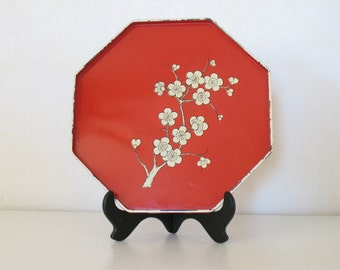 Vintage red cherry blossom tray / laquer ocatgonal tray /  asian home decor / chinoiserie home decor