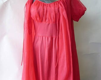 Vintage 50's Red GLAMOUR Night Gown Robe Set / size 4 6 8 small / Nylon Sheer Chiffon Lingerie / Hollywood Chic 1950s 1960s Peignoir
