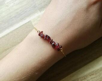 Garnet Bracelet or Anklet / Garnet Jewelry / January Birthstone Bracelet / January Birthstone Jewelry / Gemstone Bracelet / Crystal Bracelet
