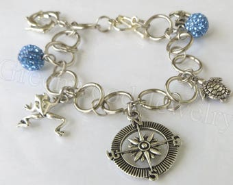 By the Sea-Bracelet-Charm Bracelet-Chunky Bracelet-Stackable Bracelets-Handcrafted-Blue-Rhinestone-Dolphin-Turtle-Compass-Anchor-Frog