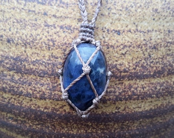 Sodalite -Idealism and Truth- Macrame Adjustable Necklace