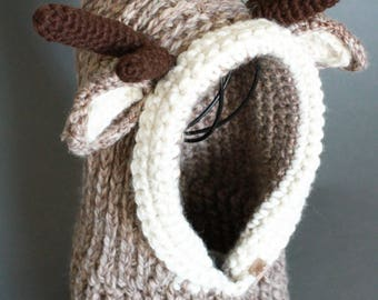 Crochet Cowl PATTERN Hooded Reindeer Cowl Crochet Hooded Cowl Pattern Includes Sizes  1 Year to Adult