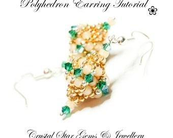 PDF beading tutorial pattern - Polyhedron earrings - CRAW - diamond