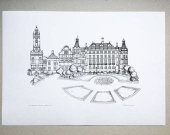 Sheffield Town Hall Screenprint - Print of line drawing - Sheffield Peace Gardens - Illustration wall art - Gift - Black - Blue - Pink
