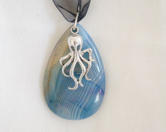 Octopus Charm and Agate Pendant