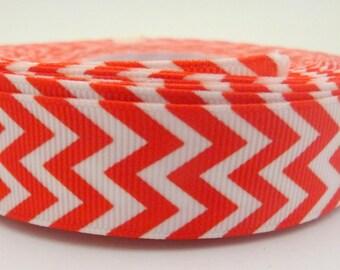 1 Metre of Red and White Chevron Zig Zag Ribbon