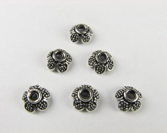 Dotted Bali Sterling Silver Scalloped Flower Beadcaps 9mm (2 beads)