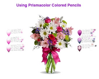 Prismacolor Flower Color Combinations - Lisa Brando Extreme Coloring - Choosing Flower Colors For Adult Coloring Books