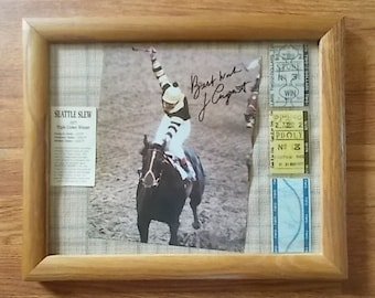Seattle Slew~Uncashed Original Triple Crown Tickets~1977~Thoroughbred~Horse Racing~Autograph~Jean Cruguet~Jockey~