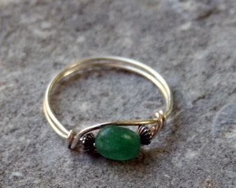 Amazonite sterling silver wire wrapped ring