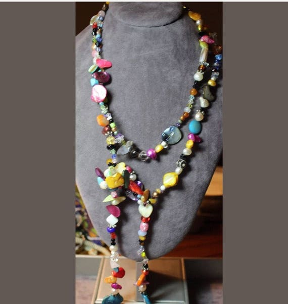 Fantastic Rainbow colored Beaded Necklace of Cheerful Gems Pearls & Beads