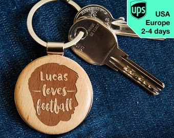 Loves Football - key chain, personalized laser engraved wooden key chain