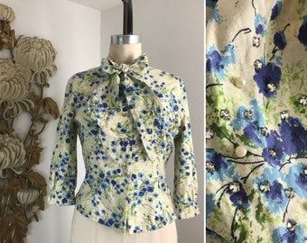 1950s blouse ascot blouse yellow blouse floral blouse size medium ruth anne blouse fitted blouse rhinestone blouse cotton blouse 34 bust