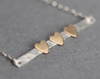 2, 3, 4, 5 Heart Necklace, Sister Necklace, Sister Gift for Mom, Wife, Mother, Skinny Bar Necklace, Family Necklace