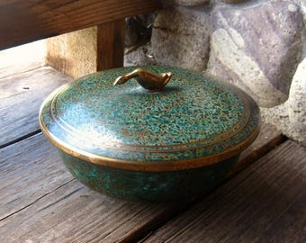 Carl Sorensen Bronze Bowl, Duck Finial on Lid, Arts and Crafts, Verdigris Finish, Covered Dish, 1920s Vintage Metalware