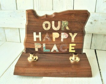 Vintage trophy state of Oregon wood embellished collaged message upcycled 1960s- free shipping US