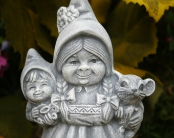 Female Gnome With Baby Gnome & Pet Mouse