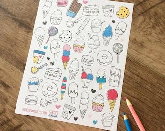 Lot d'autocollants de crème glacée et sucreries, idéal pour les agendas ou planificateurs