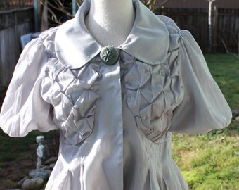 Vintage 80's Gray 100% Pleated Silk Top Really Cute!