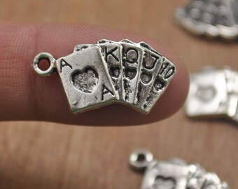 Card making charms etsy 30pcs antique silver poker playing card charmsplaying cards shape pendantspoker straight flush charms pendant jewelry making findings aloadofball Choice Image