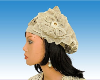 Women sun hats, linen brimmed hats, travel hat, summer hats for women, summer beret with flower, sun hats, sun hat linen summer hat, beret.