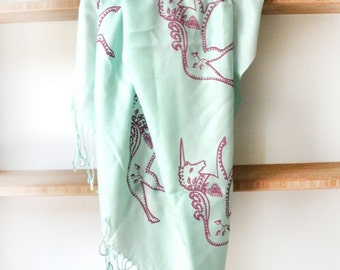 SIlk Blend Printed Folk Unicorn Scarf Mint/Pink