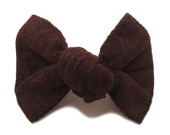 Knotted bow Barrette chocolate velvet fabric.