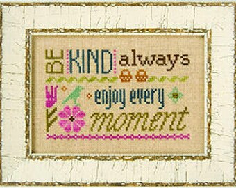 Lizzie Kate Flip-It F148 - Be Kind Always - Counted Cross Stitch Chart Pattern with Button