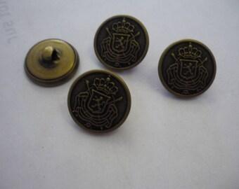 9 round engraved metal button bronze 20 mm