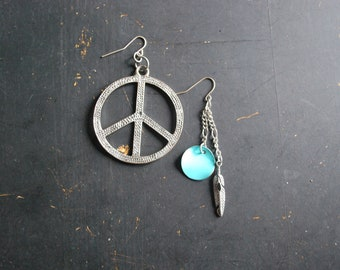 FREE Shipping - Boho Silver Mish Mash Dangle Earrings - silver, turquoise, peace sign, charms